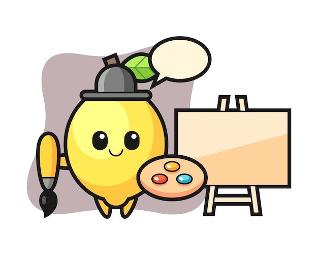 Illustration de la mascotte de citron en tant que peintre