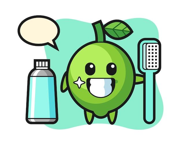 Illustration de mascotte de citron vert avec une brosse à dents, style mignon, autocollant, élément de logo