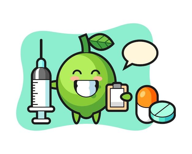 Illustration de mascotte de citron vert en tant que médecin, style mignon, autocollant, élément de logo