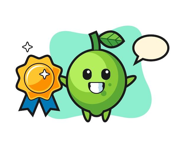 Illustration de mascotte de citron vert tenant un insigne doré, style mignon, autocollant, élément de logo