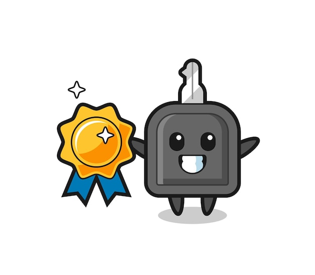 Illustration de mascotte de clé de voiture tenant un badge doré, design de style mignon pour t-shirt, autocollant, élément de logo