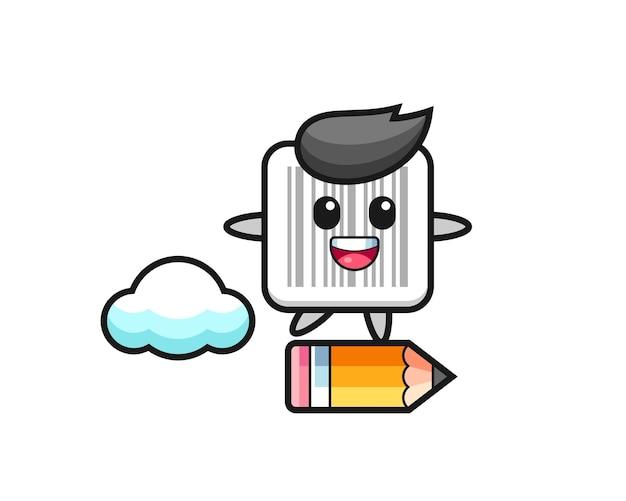 Illustration de mascotte de code-barres à cheval sur un crayon géant, design mignon