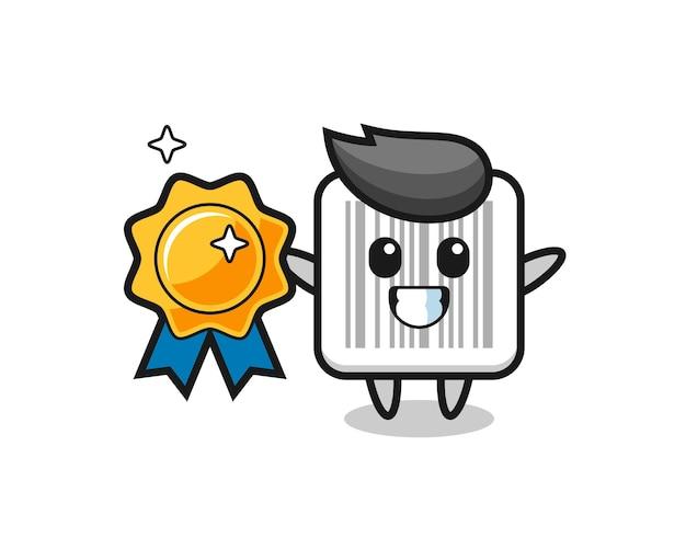 Illustration de mascotte de code barres tenant un insigne d'or, conception mignonne