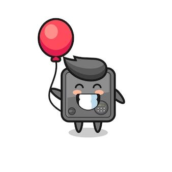 Illustration de mascotte de coffre-fort joue au ballon, design de style mignon pour t-shirt, autocollant, élément de logo