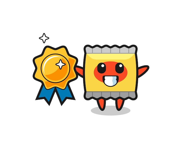 Illustration de mascotte de collation tenant un badge doré, design de style mignon pour t-shirt, autocollant, élément de logo