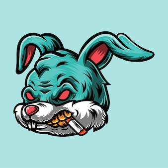 Illustration de mascotte de conception de logo de lapin