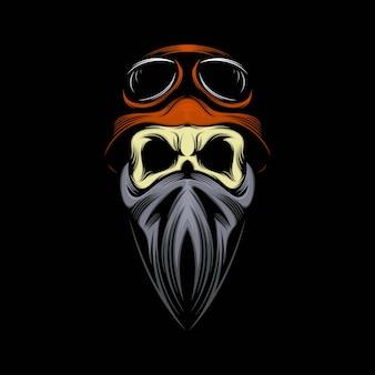 Illustration de mascotte de crâne de cavalier