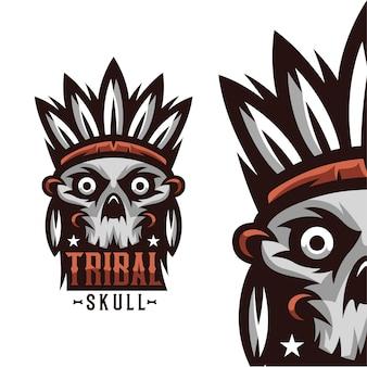 Illustration de mascotte de crâne tribal