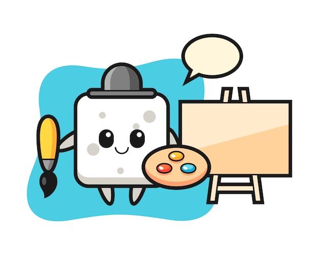Illustration de la mascotte de cube de sucre en tant que peintre, style mignon pour t-shirt, autocollant, élément de logo