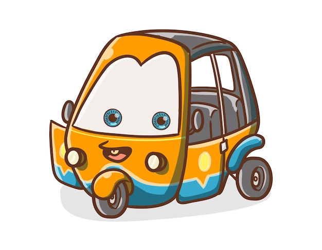 Illustration de mascotte de dessin animé mignon personnage de transport indonésien bajaj