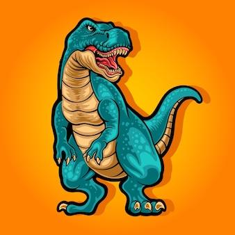 Illustration de mascotte de dessin animé t-rex