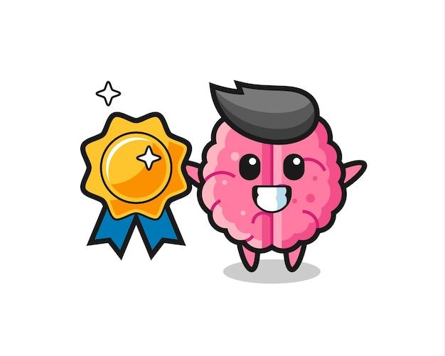 Illustration de la mascotte du cerveau tenant un badge doré, design de style mignon pour t-shirt, autocollant, élément de logo