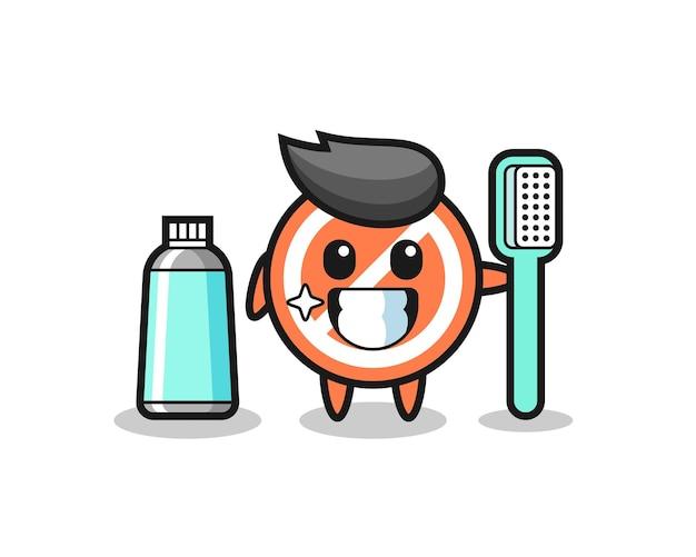 Illustration de la mascotte du panneau d'arrêt avec une brosse à dents, design de style mignon pour t-shirt, autocollant, élément de logo