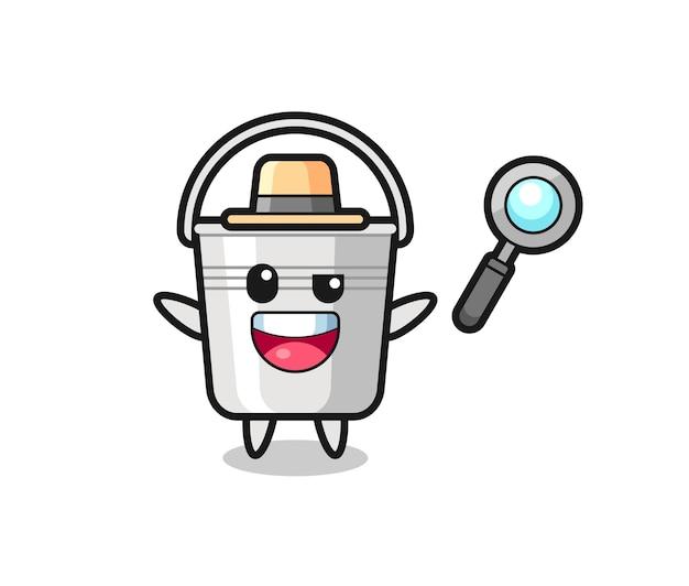 Illustration de la mascotte du seau en métal en tant que détective qui parvient à résoudre une affaire, design de style mignon pour t-shirt, autocollant, élément de logo