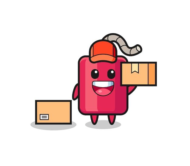 Illustration de mascotte de dynamite comme coursier, design de style mignon pour t-shirt, autocollant, élément de logo