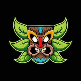 Illustration de la mascotte e-sport masque tiki