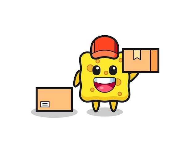 Illustration de mascotte d'éponge comme courrier, conception de style mignon pour t-shirt, autocollant, élément de logo