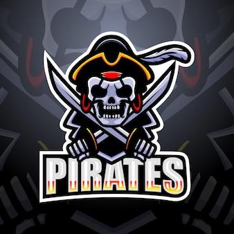 Illustration de mascotte esport crâne de pirate