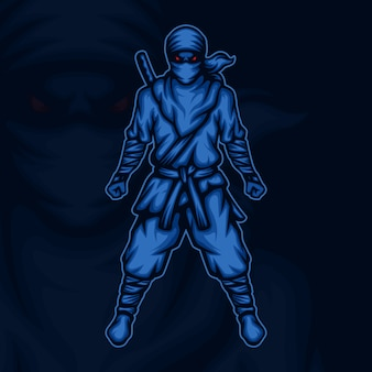 Illustration de mascotte esport guerrier ninja furieux