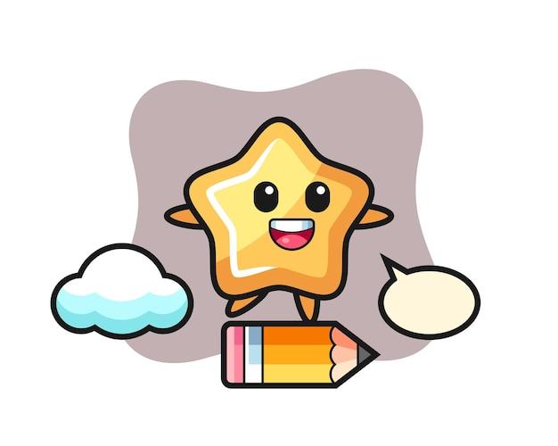 Illustration de mascotte étoile à cheval sur un crayon géant, design de style mignon pour t-shirt, autocollant, élément de logo