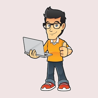 Illustration de mascotte expert informatique