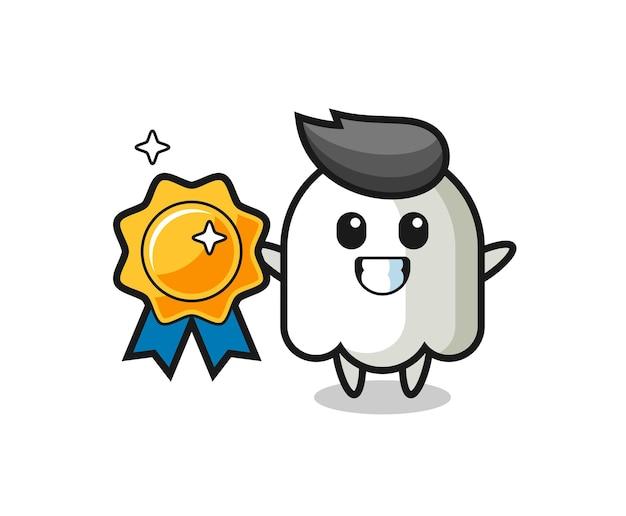 Illustration de mascotte fantôme tenant un badge doré, design de style mignon pour t-shirt, autocollant, élément de logo