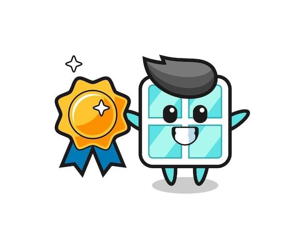 Illustration de mascotte de fenêtre tenant un badge doré, design de style mignon pour t-shirt, autocollant, élément de logo