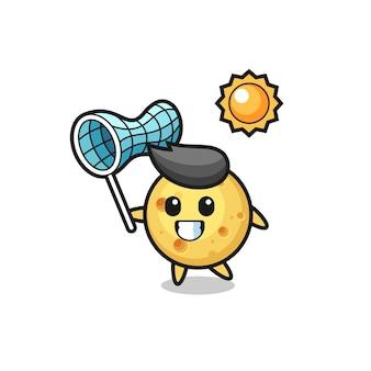 L'illustration de mascotte de fromage rond attrape un papillon, un design de style mignon pour un t-shirt, un autocollant, un élément de logo