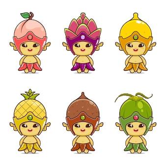 Illustration de la mascotte de fruits mignons pêche fruit du dragon citron ananas noix de coco