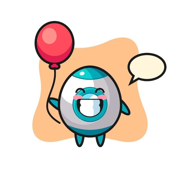 L'illustration de la mascotte de la fusée joue au ballon, design de style mignon pour t-shirt, autocollant, élément de logo