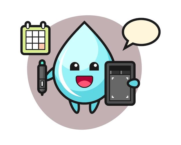 Illustration de la mascotte de goutte d'eau en tant que graphiste, conception de style mignon pour t-shirt