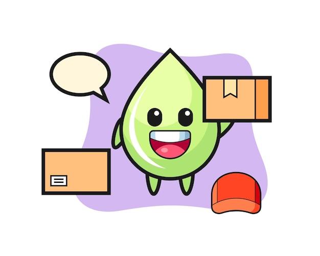Illustration de mascotte de goutte de jus de melon en tant que courrier, design de style mignon pour t-shirt, autocollant, élément de logo