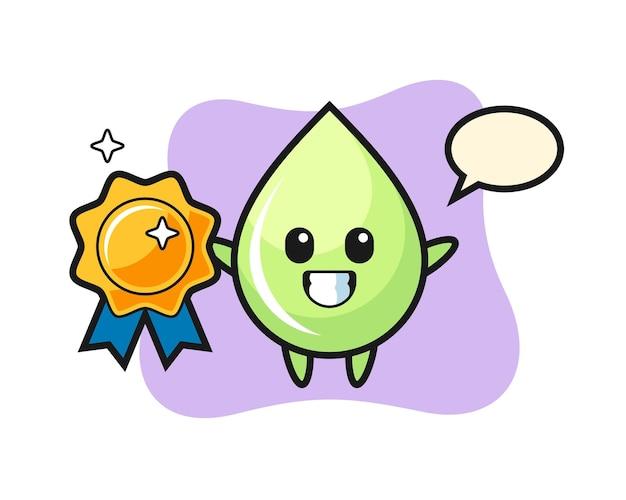 Illustration de mascotte de goutte de jus de melon tenant un badge doré, design de style mignon pour t-shirt, autocollant, élément de logo