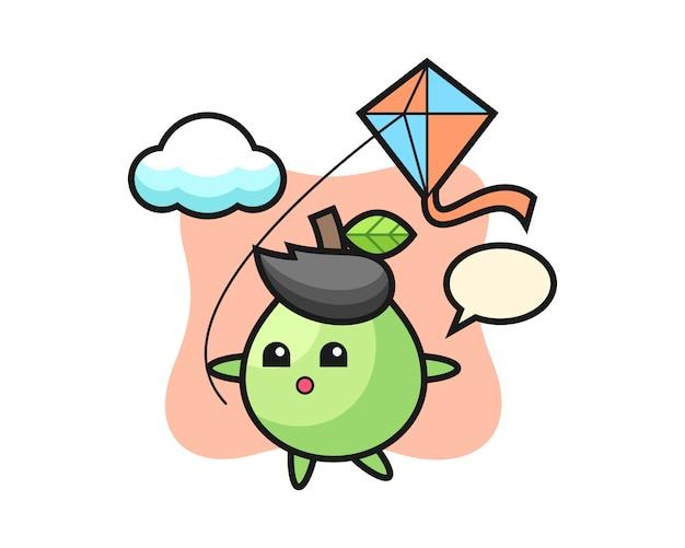 Illustration de mascotte de goyave joue au cerf-volant, style mignon pour t-shirt, autocollant, élément de logo