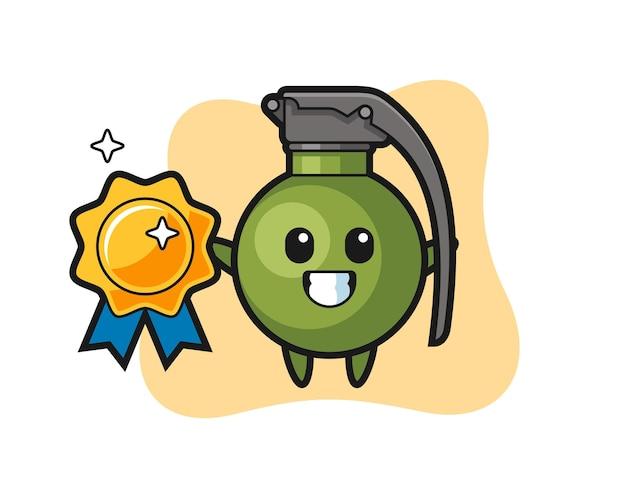 Illustration de mascotte de grenade tenant un badge doré, design de style mignon pour t-shirt, autocollant, élément de logo