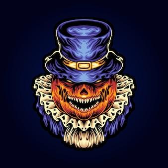 Illustration de mascotte halloween tête de jack o lantern