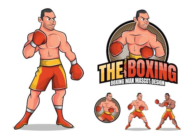 Illustration de mascotte homme boxe