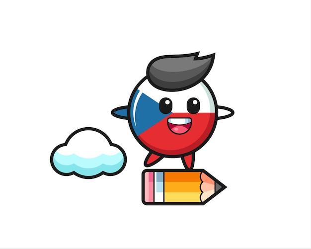 Illustration de mascotte d'insigne de drapeau tchèque à cheval sur un crayon géant, design de style mignon pour t-shirt, autocollant, élément de logo