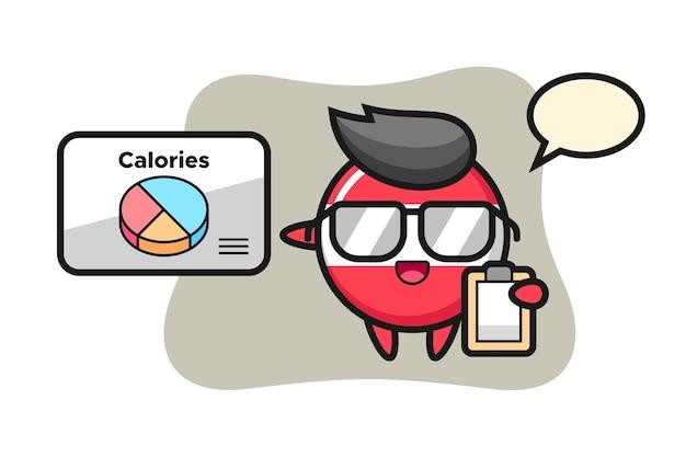 Illustration de la mascotte de l'insigne du drapeau de l'autriche en tant que diététiste