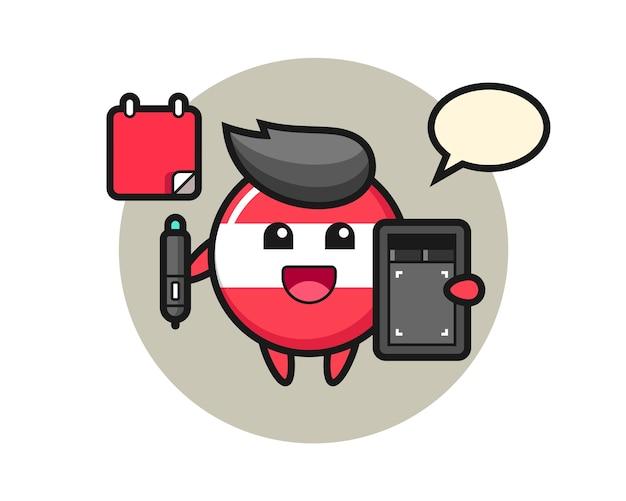 Illustration de la mascotte d'insigne du drapeau de l'autriche en tant que graphiste