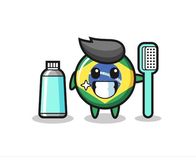 Illustration de mascotte de l'insigne du drapeau brésilien avec une brosse à dents, design de style mignon pour t-shirt, autocollant, élément de logo