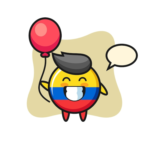 L'illustration de la mascotte de l'insigne du drapeau de la colombie joue au ballon, design de style mignon pour t-shirt, autocollant, élément de logo