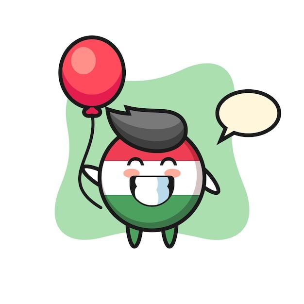 L'illustration de la mascotte de l'insigne du drapeau de la hongrie joue au ballon, design de style mignon pour t-shirt, autocollant, élément de logo