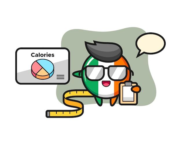 Illustration de la mascotte de l'insigne du drapeau de l'irlande en tant que diététiste