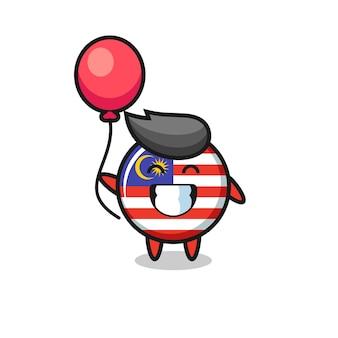 L'illustration de la mascotte de l'insigne du drapeau de la malaisie joue au ballon, un design de style mignon pour un t-shirt, un autocollant, un élément de logo