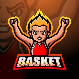 Illustration de mascotte de joueur de basket-ball
