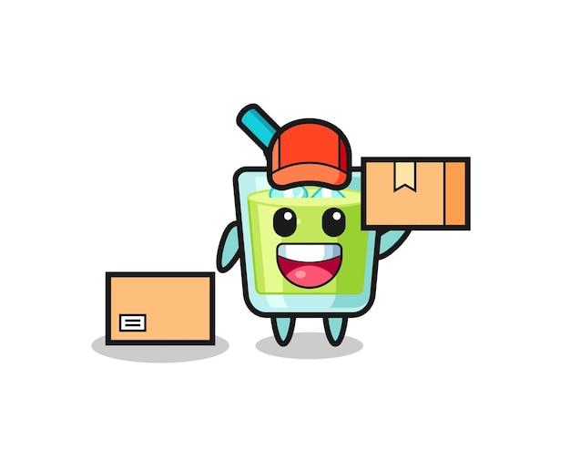 Illustration de mascotte de jus de melon comme courrier, conception de style mignon pour t-shirt, autocollant, élément de logo