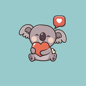 Illustration de mascotte kawaii cute animal koala icon