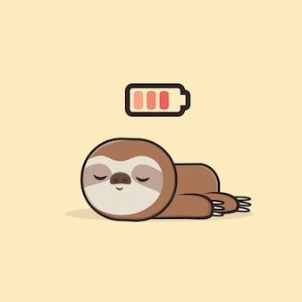 Illustration de mascotte kawaii cute animal sloth