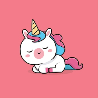 Illustration de mascotte kawaii cute animal unicorn